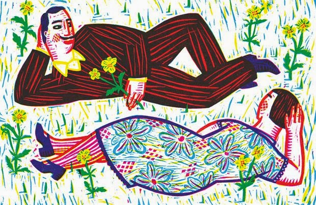 couple  in spring woodcut illustration by Isabelle Vandenabeele