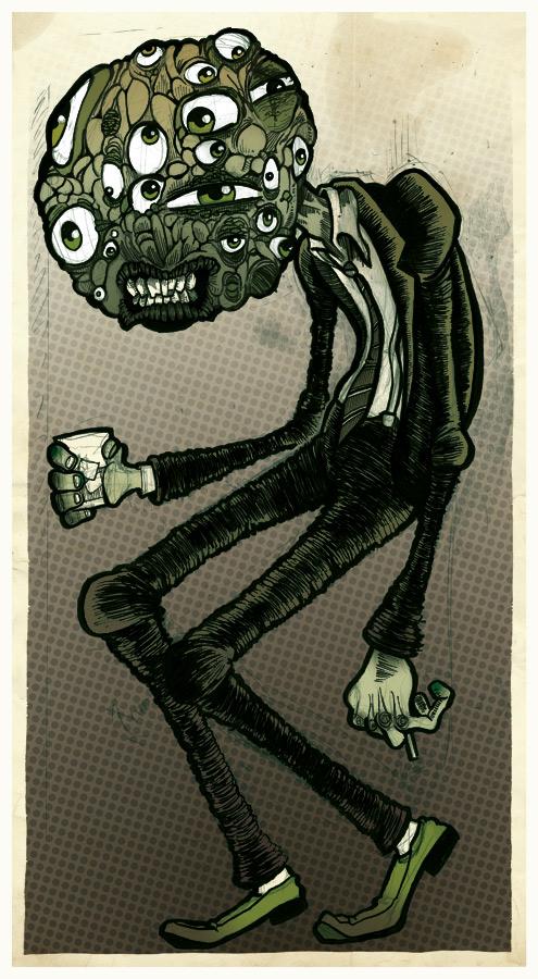 Eye-Guy alien in a suit