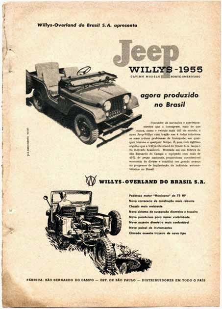 Propaganda do Jeep Willys apresentando sua linha para o ano de 1955.