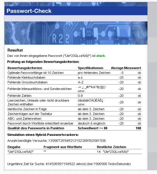 teste dein passwort