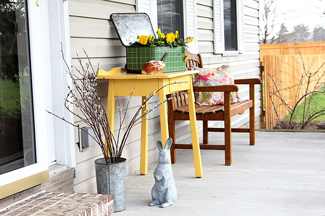 Vintage spring front porch decor