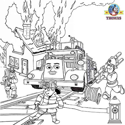 Flynn fire engine truck Thomas the train coloring book pages for kids for free picture worksheets