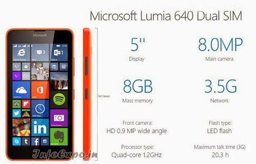 Microsoft Lumia 640: 5.0 inch,1.2GHz Quad-core WindowsPhone Specs, Price