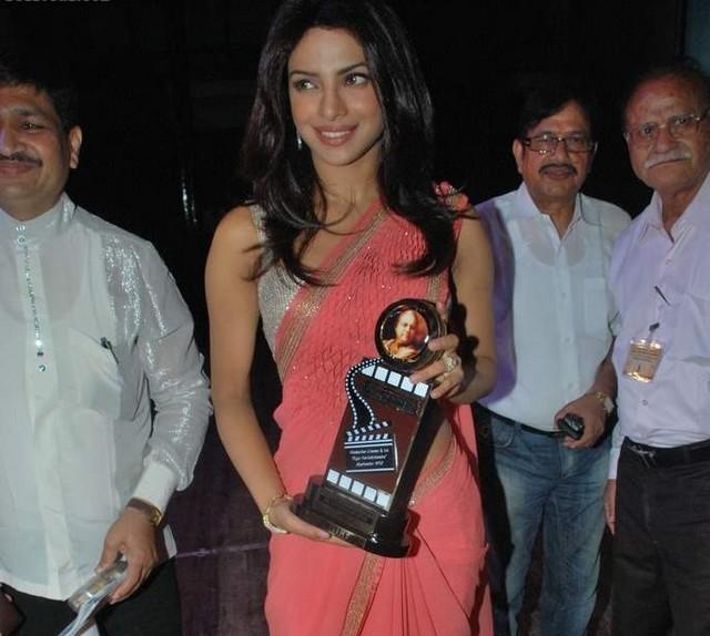 Priyanka Chopra in Shining Silver Blouse & Pink Saree latest photos