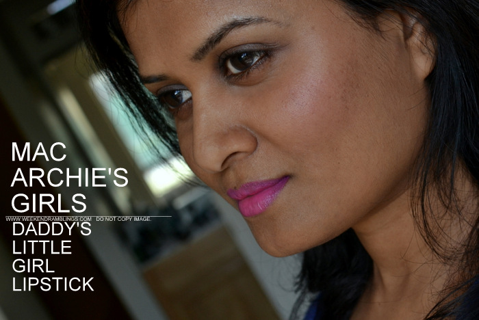 MAC Daddys Little Girl Pink Violet Lipstick Archies Girls Makeup Collection Indian Darker Skin Beauty Blog Review Swatches FOTD Looks Ingredients