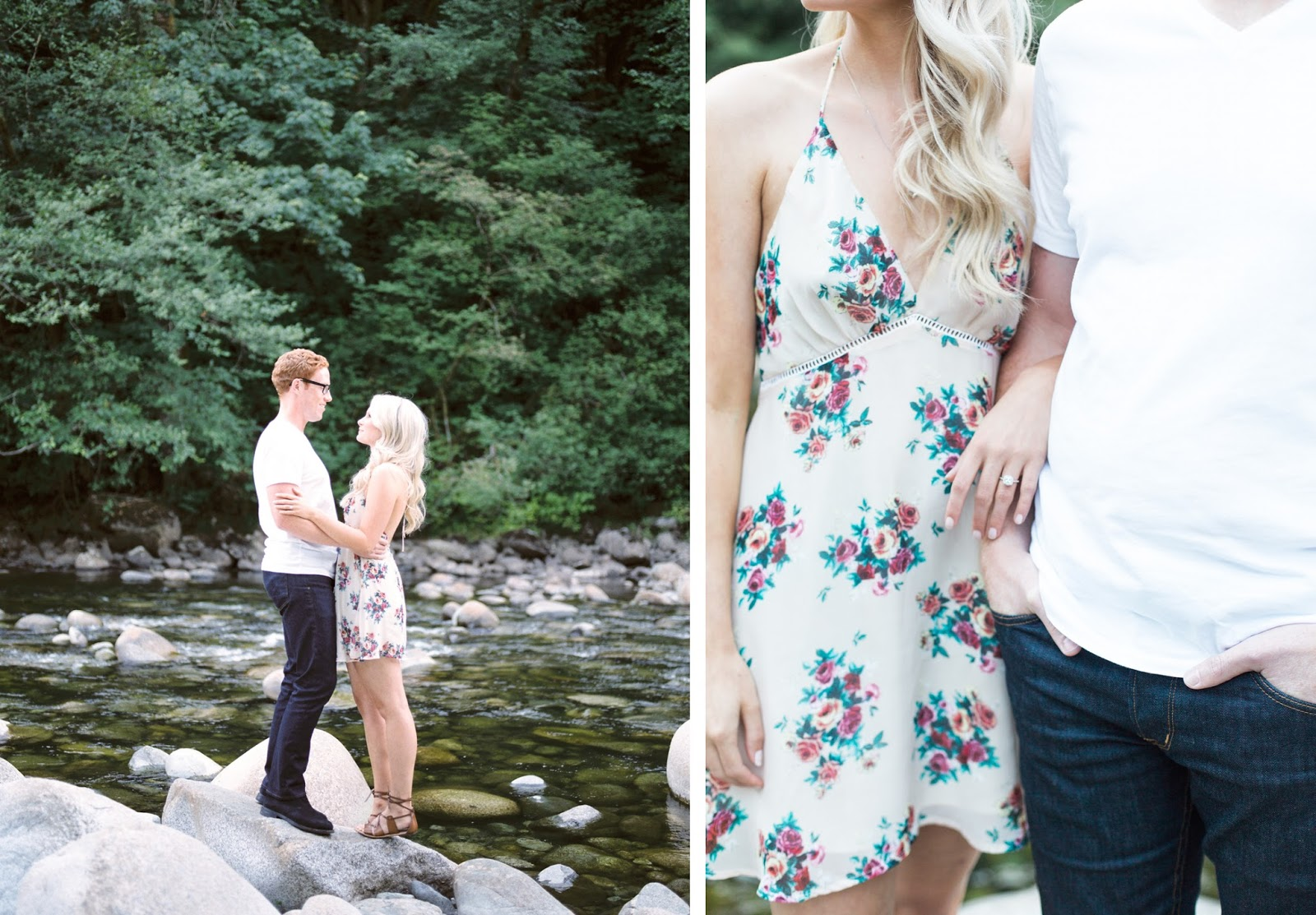 light airy dreamy engagement photos in Vancouver, out in the woods.