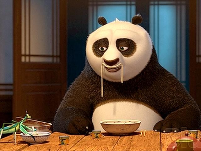 Kung Fu Panda Eating through the Orange Doo...