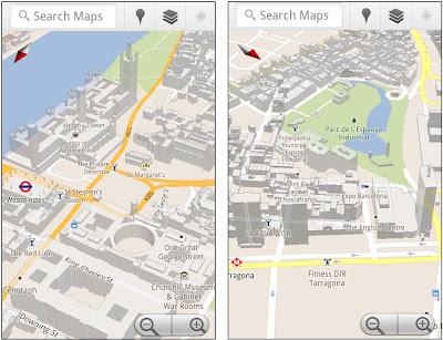 Google Maps pour Android: bâtiments en 3D pour Londres Paris et plus