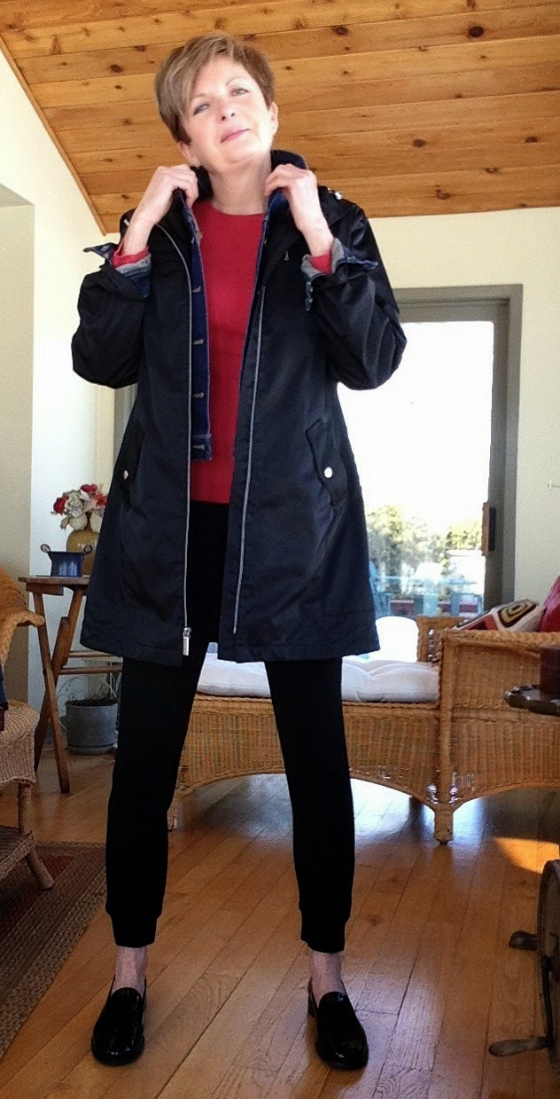 my new black Harvey pants from Aritzia, with Paige jean jacket, Gap tee, and Michael Kors raincoat