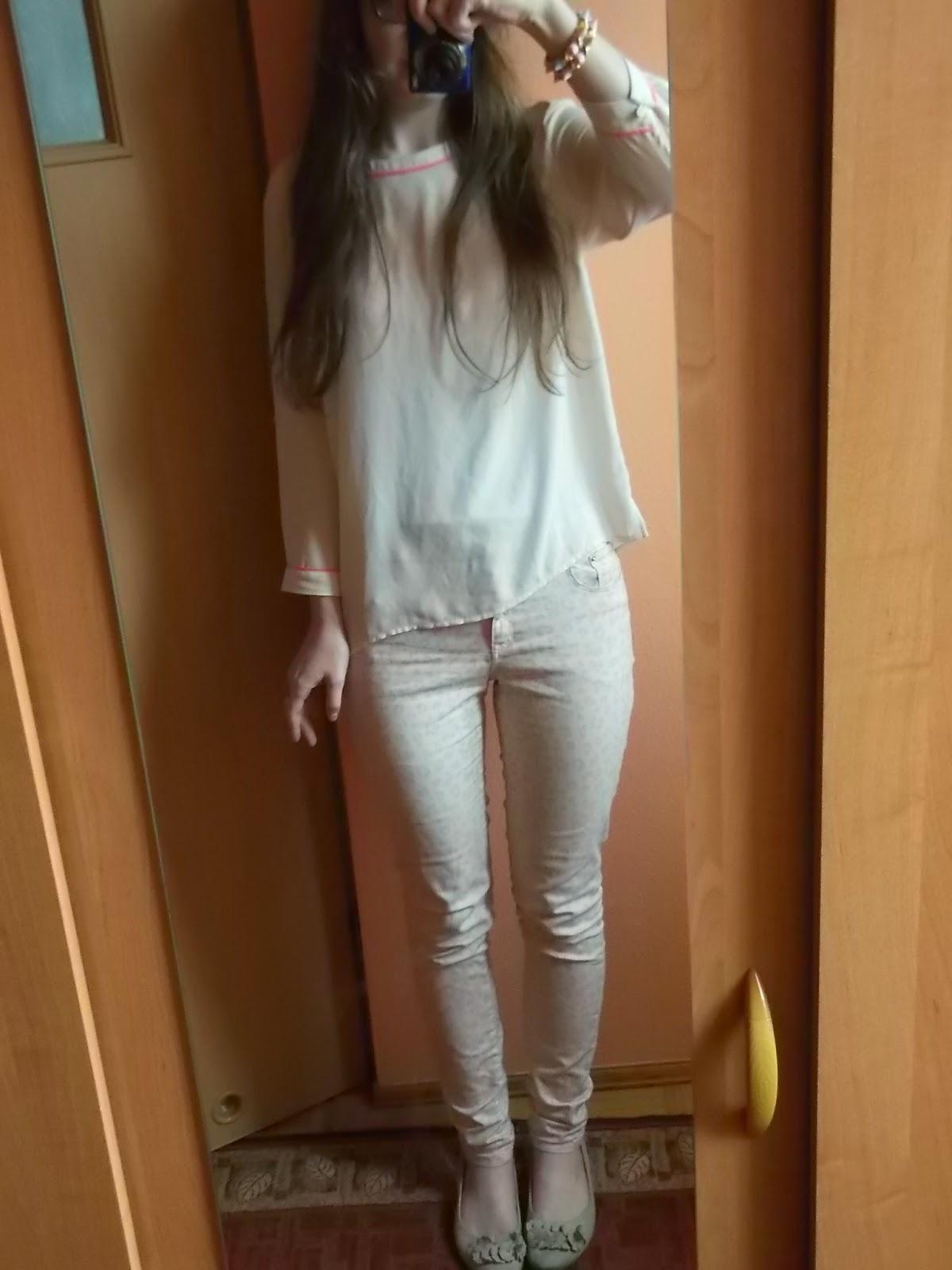 OOTD: mgiełka+pastelowe spodnie w panterkę