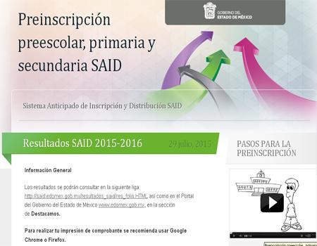 Resultados SAID secundaria primeria presescolar 2015