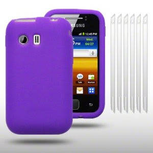 Galaxy Y Case Silicone Skin With 6 Screen Protectors (Purple)