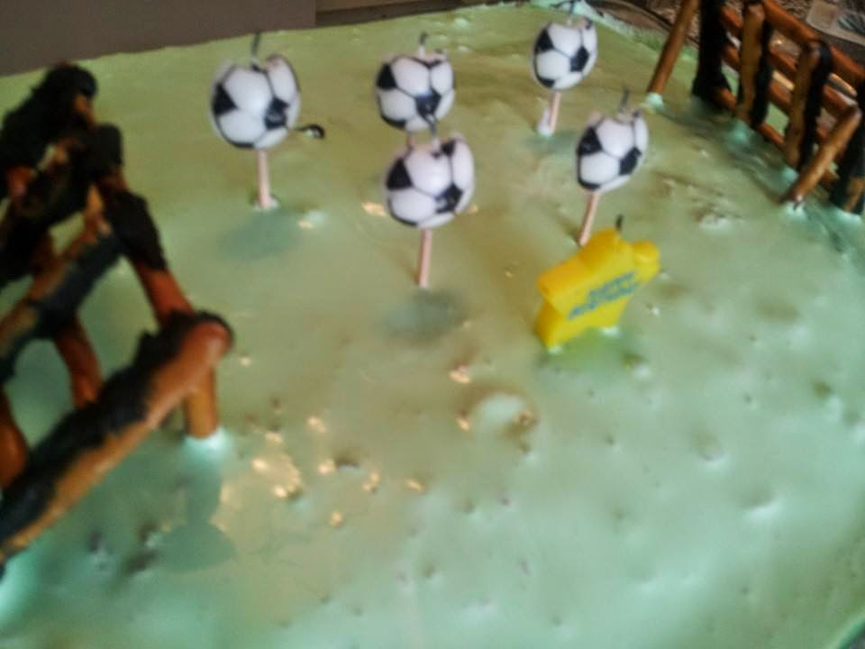 Soccer cake, soccer pitch, soccer field, pretzel soccer nets, ice cream cake, birthday cake, kids cake, kids party