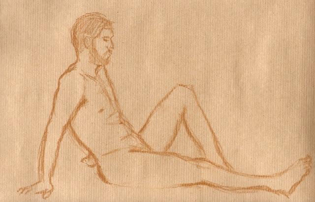 Zeichnung in Rötel: Aktpose Mann, sitzend