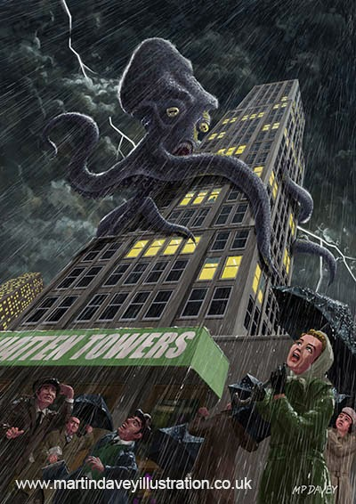 Monster Octopus attacking building in storm-digital monster painting