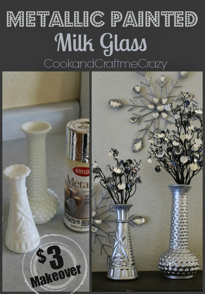 Cook And Craft Me Crazy Metallic Painted Milk Glass