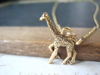 Gold Giraffe necklace charm Etsy Bride Blu
