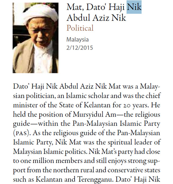 Nik Aziz - Senarai individu muslim paling berpengaruh di dunia
