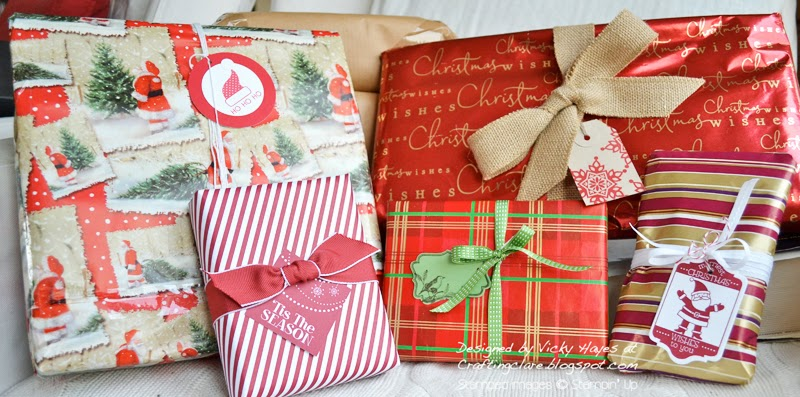 gift wrapping with Stampin' Up and Crafting Clare