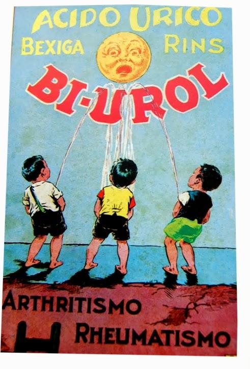 Propaganda irreverente do Bi-Urol. Três crianças fazendo xixi. 1930