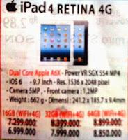 harga dan spesifikasi ipad retina