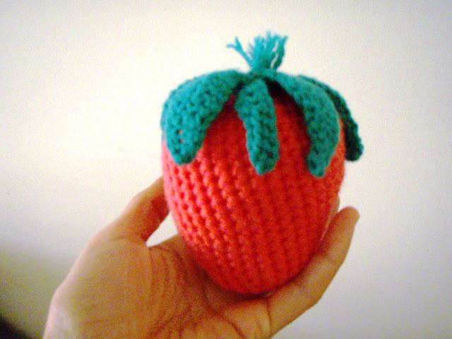 crochet strawberry plush toy
