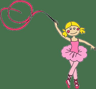 niña bailando cinta en gimnasia