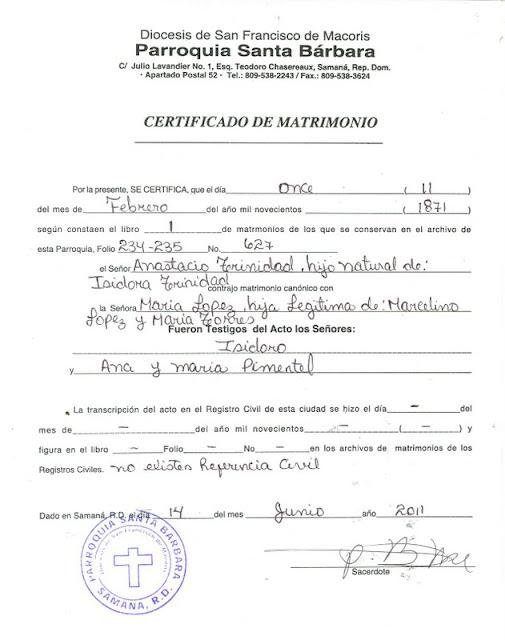 MI PAIS.NET: ACTA DE MATRIMONIO DEL LIBRO DE ANASTACIO TRINIDAD Y ...