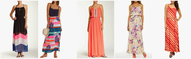 Want & Need Strappy Keyhole Colorblock Maxi Dress $29.77 (regular $62.00)  Charlotte Russe Tropical Striped & Belted Maxi Dress $29.99  Bobeau Embellished Front Maxi Dress $34.97 (regular $69.00) my favorite!  Apt 9 Popover Maxi Dress $42.00 (regular $60.00)  Calvin Klein Cowl Maxi w/ Hardware $70.99 (regular $129.50)
