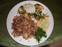 Mezcla de arroz con tofu y verduras