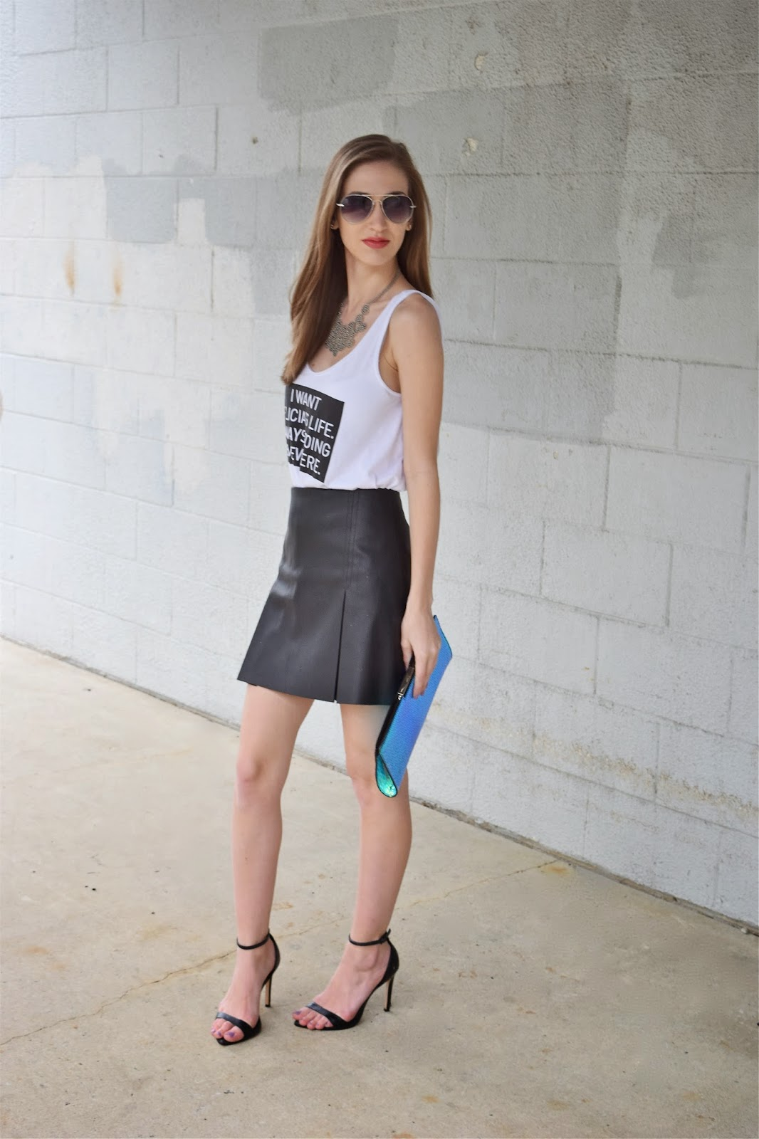 Wearing Ten Sixty Sherman I want Felicia's Life Graphic Tee, Express Faux Leather pleated skirt, ankle strap heels, dressed up graphic tee look