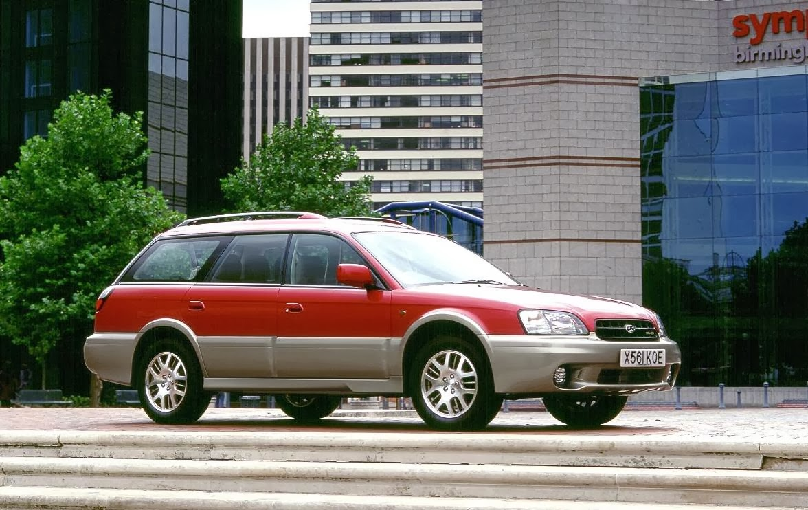 1998 Subaru Outback in red and gold