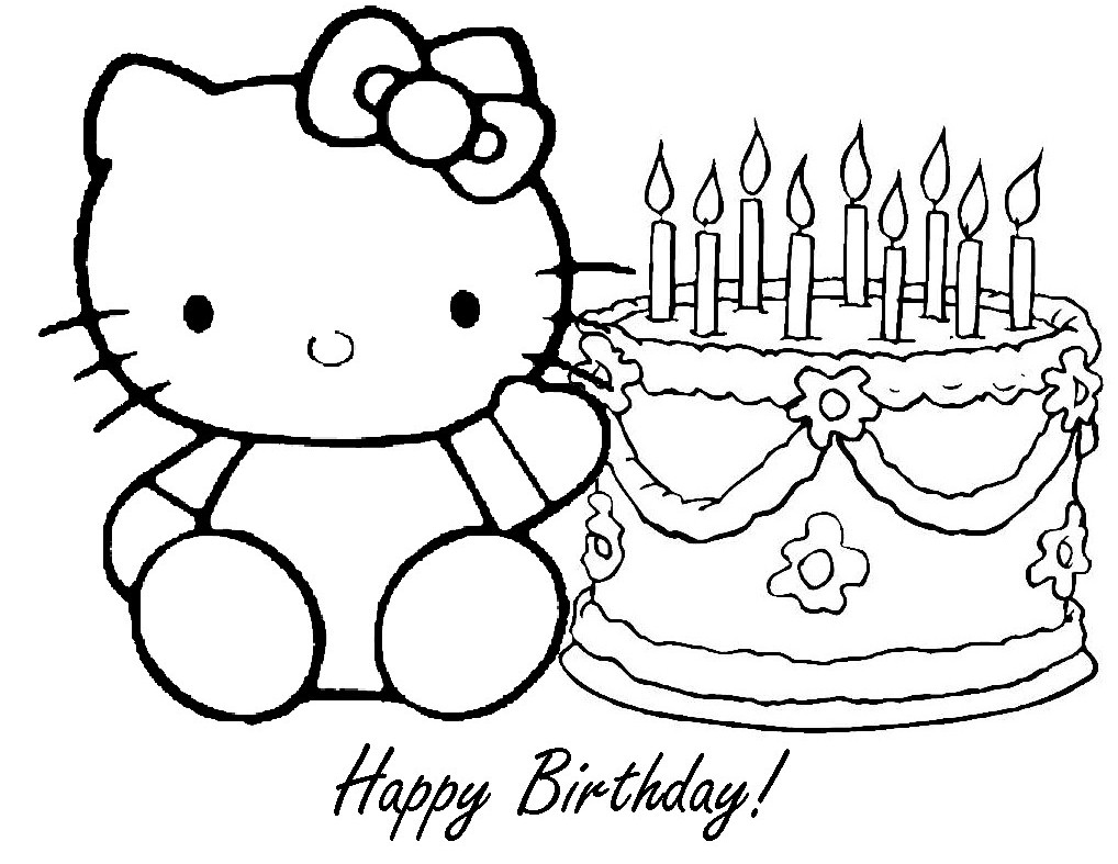 hello kitty happy birthday coloring pages - fun learn free worksheets for kid free happy birthday
