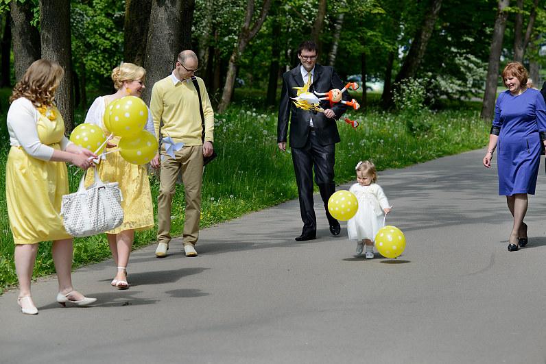 geltoni balionai per krikštynas