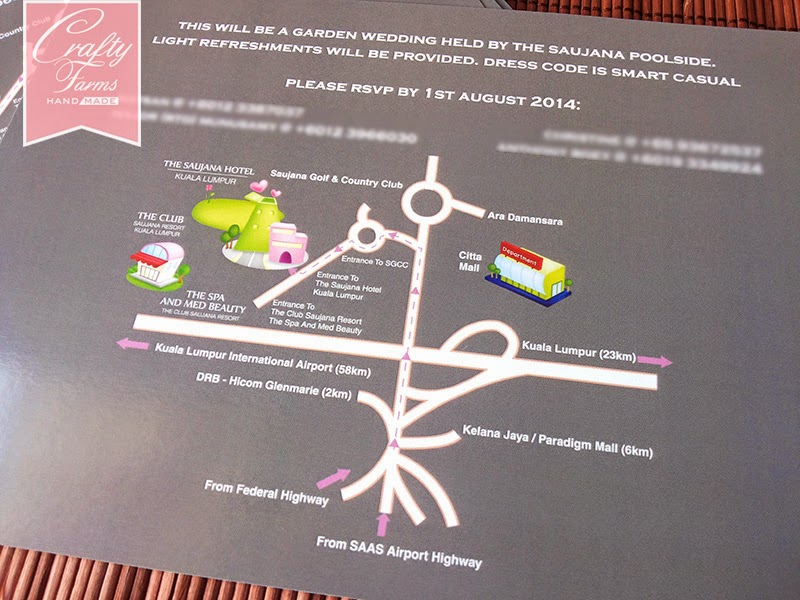 Purple Confetti Wedding Invitation Card with Map The Saujana Hotel Kuala Lumpur