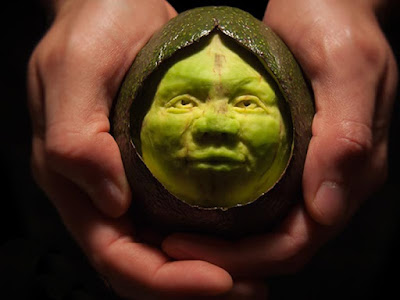 avocado face fruit carving art design