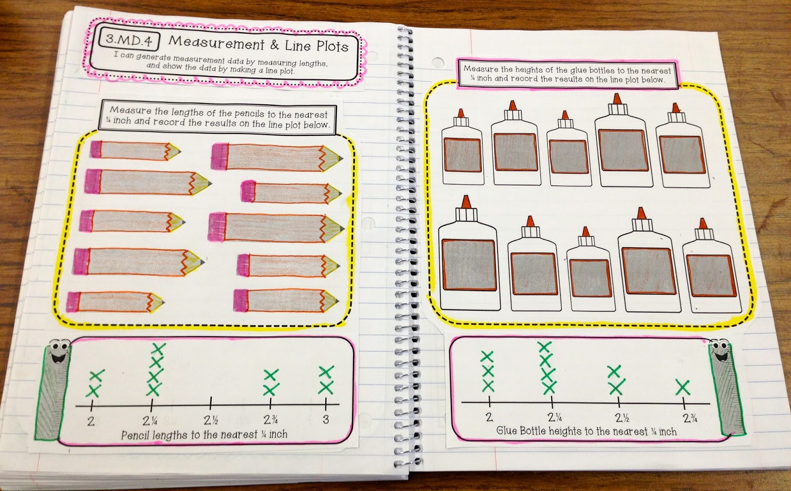 Worksheet Interactive Line Plots 3rd grade interactive math notebook final edition create measurement and line plots 3 md 4