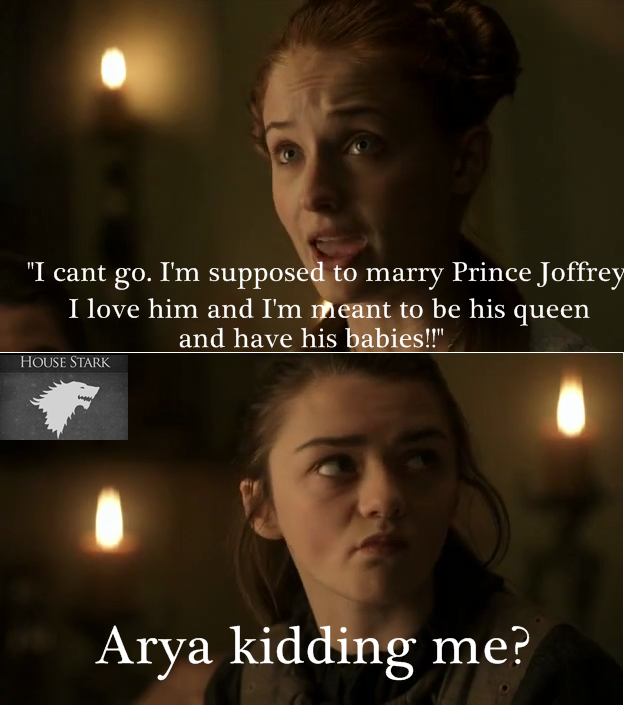 game of thrones memes sansa arya