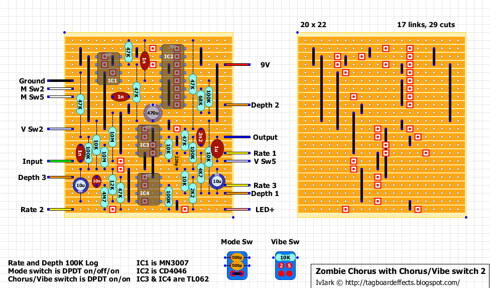 guitar fx layouts zombie chorus modded version chorus vibe switch and 3 speed mode switch