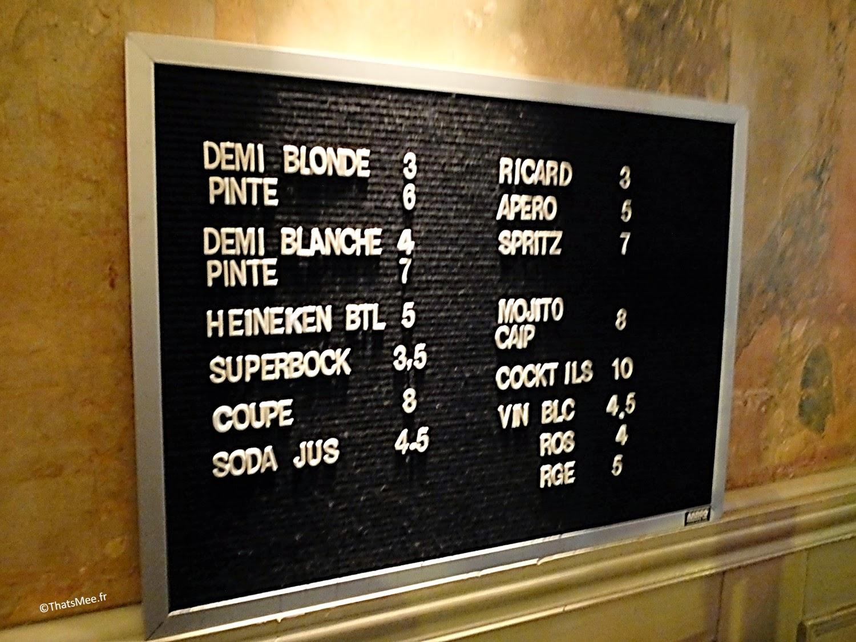 prix consommations bar à cocktails et bières Le Little République Paris