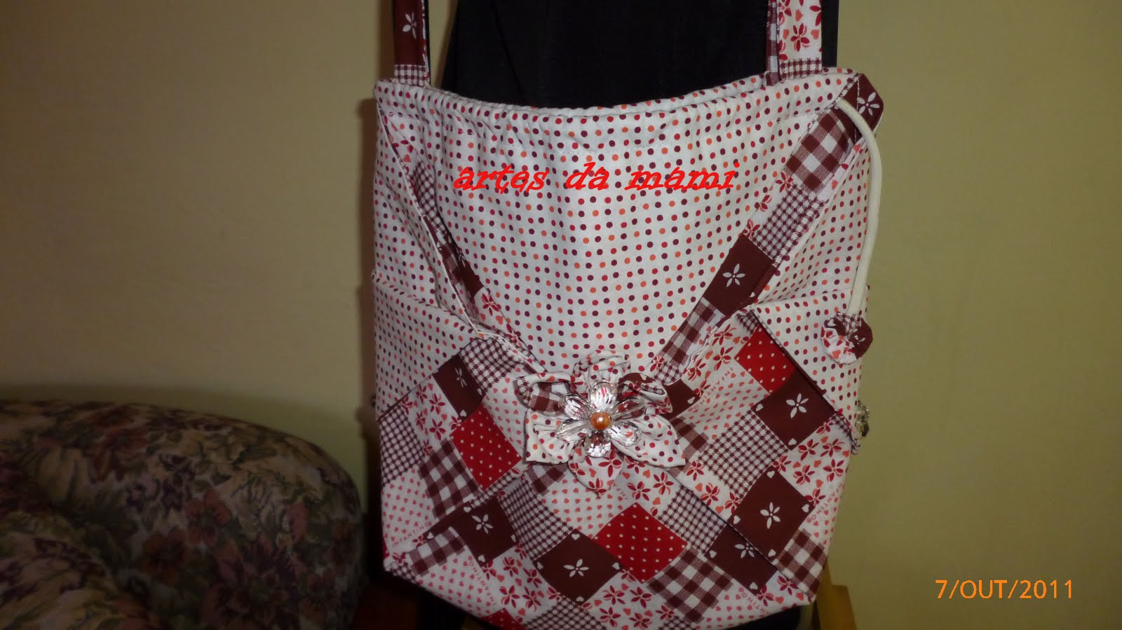 Bolsa De Tecido Com Perola : Artes da mami bolsa de tecido
