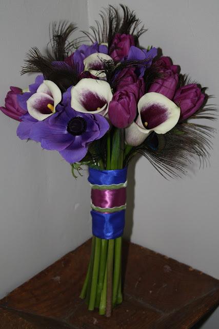 Purple Anemone, Calla, Tulips Wedding Bouquet - Splendid Stems Floral Designs
