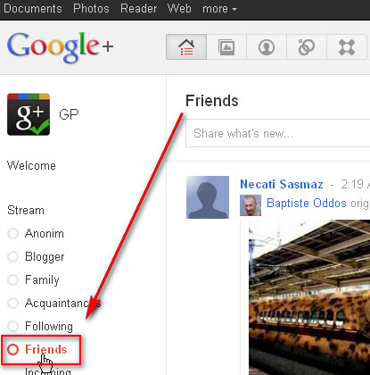 Google+ Stream Friends