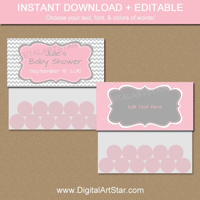 Printable pink and grey baby shower chevron bag toppers