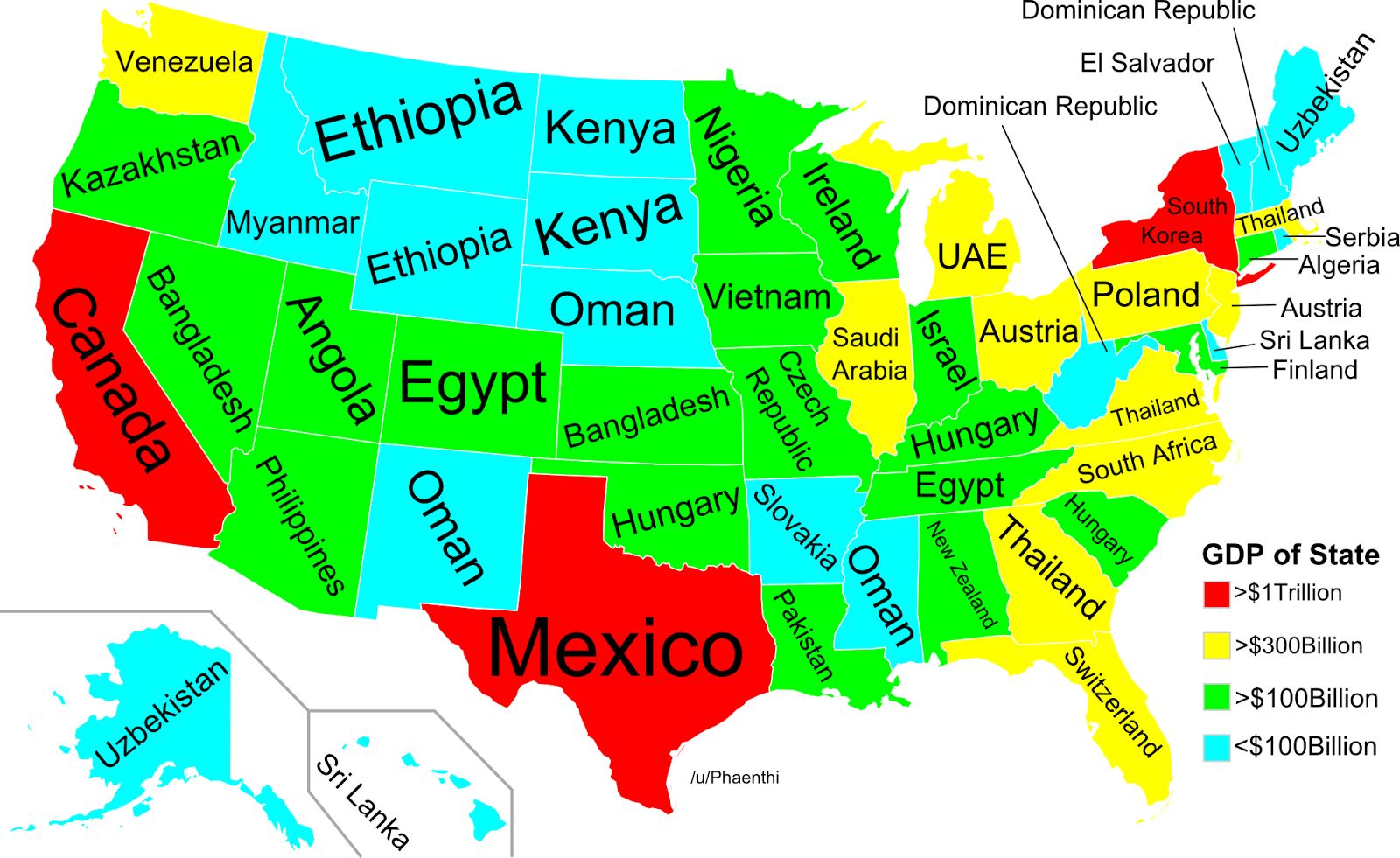 on saturday redditor phaenthi posted this map showing us the countries that each state s gdp overtakes the result is compelling and oddly troubling when