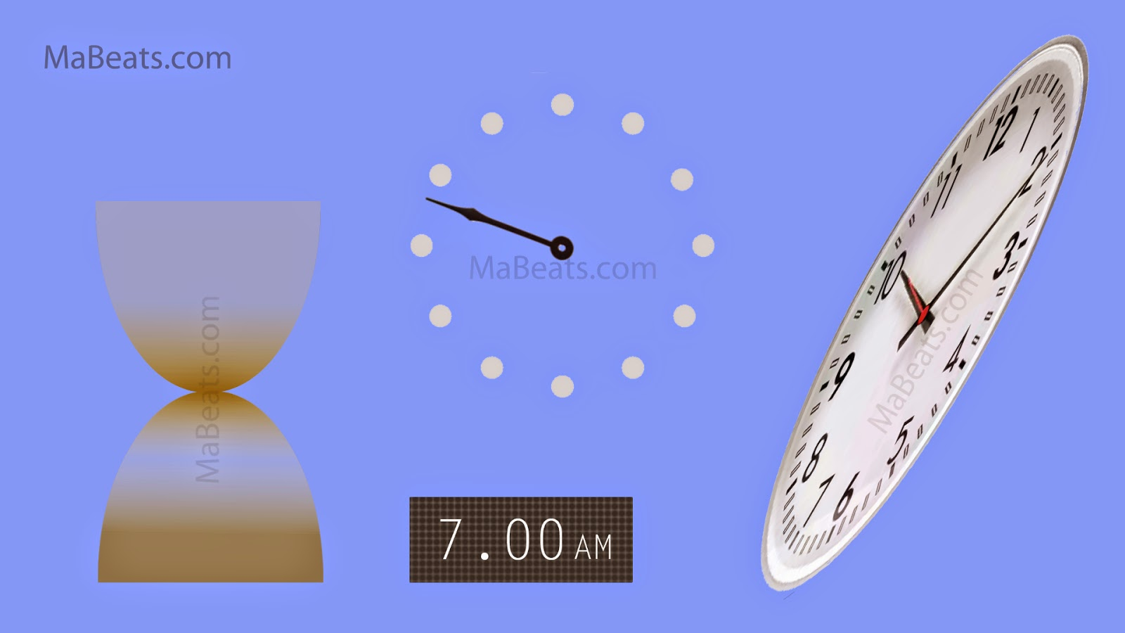 How often do you see the Time - forget time for some time, clock, digital clock, sand clock, blue background