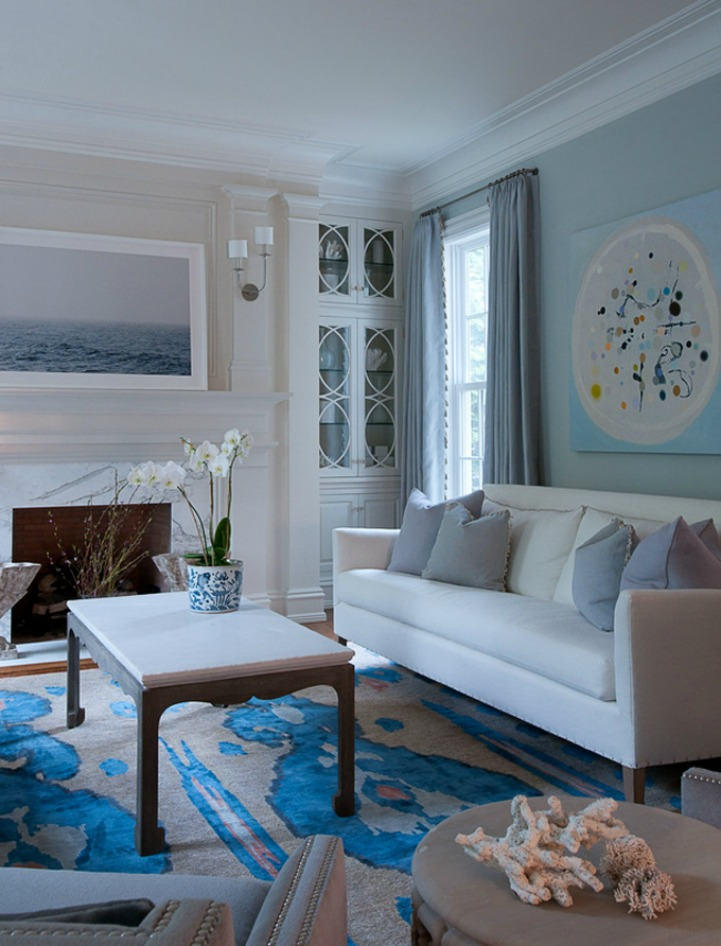 Coastal formal living room in ocean hues