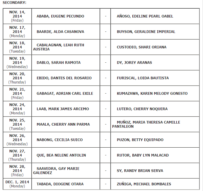 Schedule of initial registration for August 2014 LET Passers (Manila) Secondary