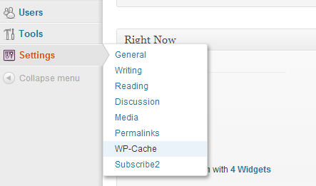 wp-cache plugin wordpress settings