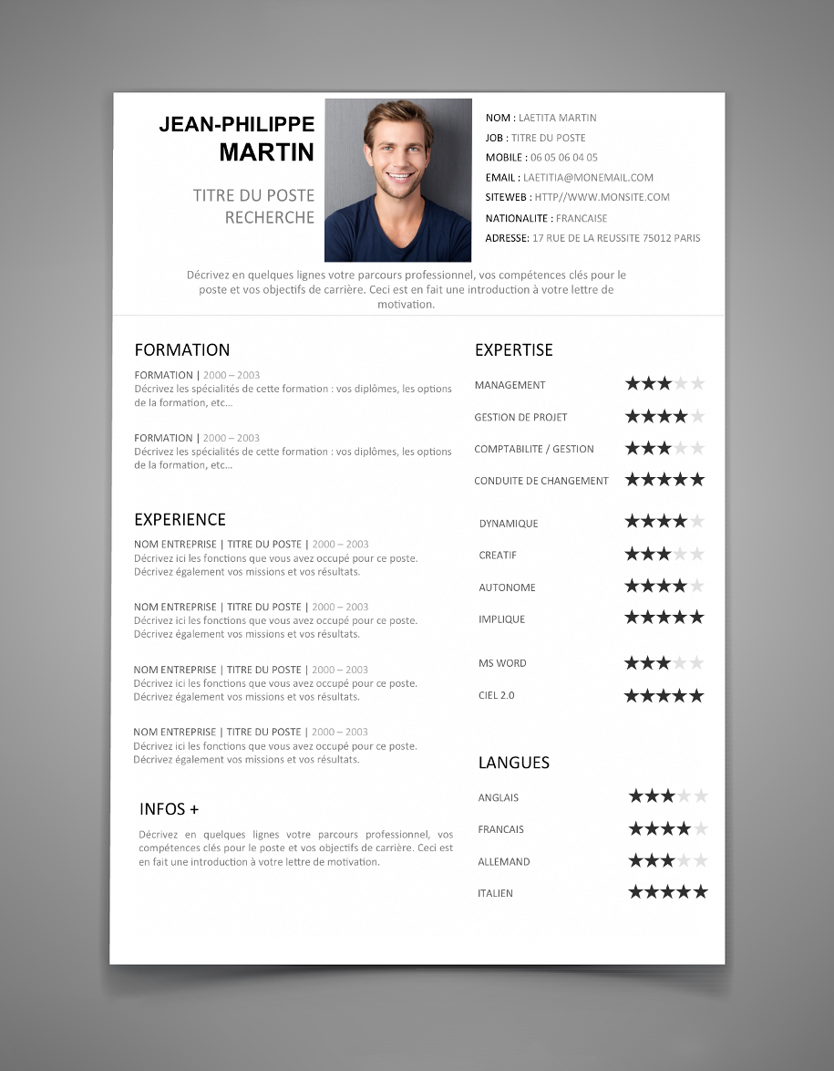 cv exemple Download free cv-curriculum vitae, cv resume templates from resume world in toronto.